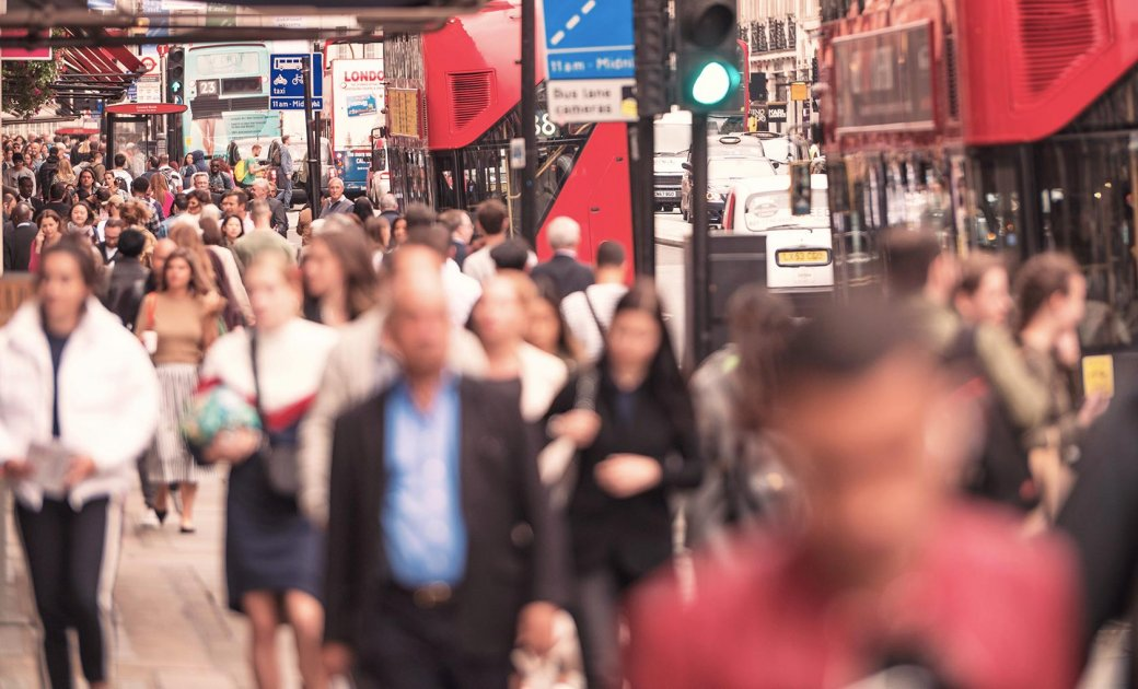Busy London Regent Street with noise